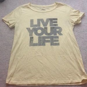 """American Eagle Yellow """"Live Your Life"""" Graphic Tee"""